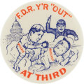"Political:Pinback Buttons (1896-present), Wendell Willkie: Classic ""Out at Third"" Cartoon Design. ..."