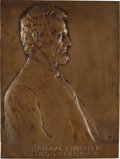 Political:Miscellaneous Political, [Abraham Lincoln]: Victor D. Brenner 1907-Dated Bronze LincolnPlaque, without the Usual Marble Backing,...