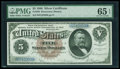 Large Size:Silver Certificates, Fr. 263 $5 1886 Silver Certificate PMG Gem Uncirculated 65 EPQ....