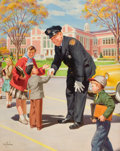 Mainstream Illustration, ART FRAHM (American, 1906-1981). Safety Series: The CrossingGuard. Oil on canvas. 30 x 24 in.. Signed lower left. ...