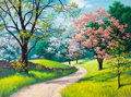 Mainstream Illustration, ARTHUR SARON SARNOFF (American, 1912-2000). Spring Blossoms.Acrylic on board. 36 x 48 in.. Signed lower right. From...