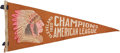 Baseball Collectibles:Others, 1920 Cleveland Indians American League Champions Pennant....