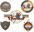 Baseball Collectibles:Pins, 1940's New York Yankees World Series Press Pins Lot of 5....