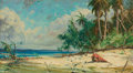 Mainstream Illustration, HY (HENRY) HINTERMEISTER (American, 1897-1972). BeachLandscape, 1966. Oil on canvas. 26.5 x 46.5 in.. Signed lowerleft...