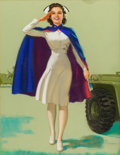 Pin-up and Glamour Art, KNUTE O. MUNSON (American, 20th Century). Kelly Tires adillustration. Pastel on board. 28 x 21.5 in.. Signed lowerrigh...