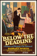 "Movie Posters:Crime, Below the Deadline (Chesterfield, 1929). One Sheet (27"" X 41"")Style A. Crime.. ..."