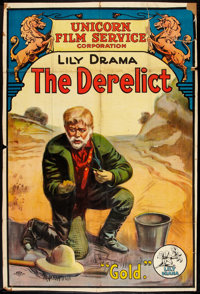 """The Derelict (Lilly, 1916). One Sheet (26.75"""" X 40""""). Short Subject"""