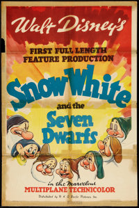 "Snow White and the Seven Dwarfs (RKO, 1937). One Sheet (27"" X 41"") Style A. Animated"