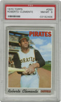 Baseball Cards:Singles (1970-Now), 1970 Topps Roberto Clemente #350 PSA NM-MT 8. Clemente has beencaptured in a regal pose for his high grade entry in the 19...