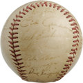 Autographs:Baseballs, 1948 New York Giants Team Signed Baseball. Twenty-two members fromthe 1948 New York Giants grace this vintage orb. Notewo...