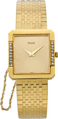 Timepieces:Wristwatch, Piaget Diamond & Gold Wristwatch, circa 1985. ...