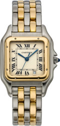 Timepieces:Wristwatch, Cartier Two Tone Panther Wristwatch, circa 1995. ...