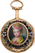 Timepieces:Pocket (pre 1900) , Alexander Patry Gold Verge With Enameled Portrait, circa 1790. ...