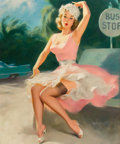 Pin-up and Glamour Art, WILLIAM MEDCALF (American, 20th Century). Bus Stop. Oil onboard. 35.5 x 29.5 in.. Signed lower right. ...