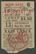 Autographs:Others, 1949 Casey Stengel Signed Ticket Stub. ...