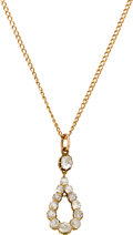 Estate Jewelry:Necklaces, Antique Diamond, Gold Pendant-Necklace. ...
