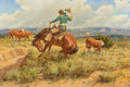 Paintings, JOE BEELER (American, 1931-2006). Rope Trouble. Oil on canvas. 20 x 30 inches (50.8 x 76.2 cm). Signed lower right: Jo...