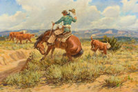 JOE BEELER (American, 1931-2006) Rope Trouble Oil on canvas 20 x 30 inches (50.8 x 76.2 cm) Si