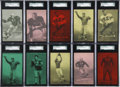 Football Cards:Lots, 1948-52 W468 Exhibit Football Rare Color Tint Short-Prints Collection (13)....