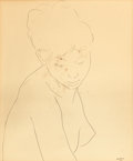 Fine Art - Work on Paper:Drawing, LOUIS MUHLSTOCK (Canadian, 1904-2004). Young Negro Girl,1949. Ink line drawing on paper. 24-1/2 x 20 inches (62.2 x 50....