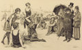 Mainstream Illustration, ORSON LOWELL (American, 1871-1956). Beach Scene. Ink onpaper. 17.75 x 29 in.. Signed lower right. ...
