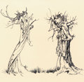 Works on Paper, ARTHUR RACKHAM (British, 1867-1939). Two Trees. Ink on paper. 6.25 x 6.5 in.. Signed lower right. ...
