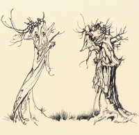 ARTHUR RACKHAM (British, 1867-1939) Two Trees Ink on paper 6.25 x 6.5 in. Signed lower right