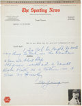 Autographs:Letters, 1940's Cy Young Handwritten Letter....