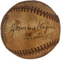 Autographs:Baseballs, 1936 Honus Wagner Single Signed Baseball....