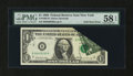 Error Notes:Foldovers, Fr. 1903-B $1 1969 Federal Reserve Note. PMG Choice About Unc 58EPQ.. ...