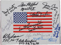 Autographs:Celebrities, NASA Astronauts: Beta Cloth American Flag Signed by Twelve....