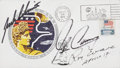 Autographs:Celebrities, Apollo 17 Crew-Signed Launch Cover with Original Robert T. McCall Painting of Harrison Schmitt on the Verso....