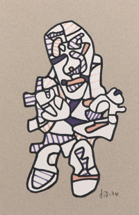 JEAN DUBUFFET (French, 1901-1985) Personnage, 1974 Felt-tip pen and paper collage 11-1/2 x 7-1/2
