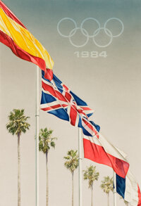 MEL RAMOS (American, b. 1935) Olympic Games 1984, 1983 Watercolor on paper 26 x 18 inches (66.0 x
