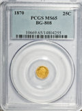 California Fractional Gold: , 1870 25C Liberty Round 25 Cents, BG-808, R.3, MS65 PCGS. PCGSPopulation (45/11). NGC Census: (7/7). (#10669)...