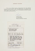Explorers:Space Exploration, Gordon Cooper Document Signed: 1984 FAA Flight Medical CertificateOriginally from his Personal Collection. ...