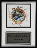 Explorers:Space Exploration, Apollo-Soyuz Test Project Flown Crew-Signed Beta Cloth Mission Insignia Patch Originally from the Collection of Mission Dockin...