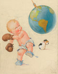 Mainstream Illustration, CHARLES TWELVETREES (American, 1888-1948). Boxing the World.Watercolor on board. 29 x 24 in.. Signed lower right. ...