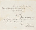Autographs:U.S. Presidents, Abraham Lincoln Autograph Letter Signed one month before beginning his senate campaign against Stephen Douglas. One page, 5....