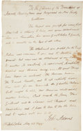 "Autographs:U.S. Presidents, John Adams Autograph Letter Signed as the second president to the citizens of three townships in New Jersey. One page, 8"" x ..."