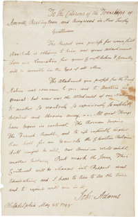 John Adams Autograph Letter Signed as the second president to the citizens of three townships in New Jersey. One page