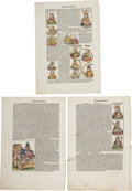 Books:Early Printing, Hartmann Schedel. Three Hand-Colored Leaves from Liber chronicarum. Nuremberg: Anton Koberger, 1493. Four leaves fro... (Total: 3 Items)