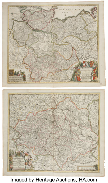 Frederik De Wit Four Superb Hand Colored Maps Of Germany Lot