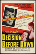 "Movie Posters:War, Decision Before Dawn (20th Century Fox, 1951). One Sheet (27"" X41""). War.. ..."
