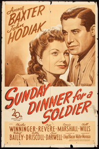 """Sunday Dinner for a Soldier (20th Century Fox, 1944). One Sheet (27"""" X 41""""). Drama"""