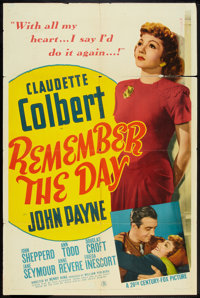 """Remember the Day (20th Century Fox, 1941). One Sheet (27"""" X 41""""). Drama"""