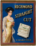 Baseball Collectibles:Others, Circa 1910 Allen & Ginter Richmond Straight Cut TobaccoAdvertising Sign....