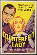"Movie Posters:Adventure, Counterfeit Lady (Columbia, 1936). One Sheet (27"" X 41"").Adventure.. ..."