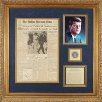 John F. Kennedy Signed Dallas Morning News Front Page from Morning of November 22, 1963