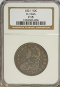 Bust Half Dollars: , 1821 50C F15 NGC. O-104A. NGC Census: (5/436). PCGS Population(10/494). Mintage: 1,305,797. Numismedia Wsl. Price for NGC...